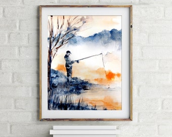 Fisherman Print, Watercolor Painting Art, Landscape with Fisherman, Modern Wall art, Fine Art Print