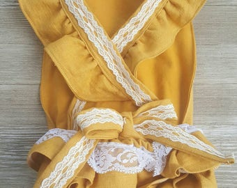 Mustard romper, linen romper, with or without ruffles and lace