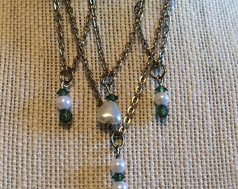 Bar Pin Brooch Green Heart stones Faux Pearls Chains Dangle Vintage Estate 1970's