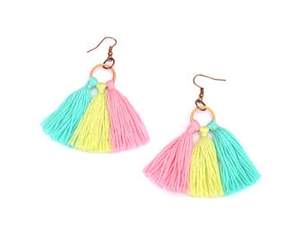 Colorful Tassel Earrings, Pastel Earrings, Fringe Earrings, Boho Tassel Earrings, Tassel Jewelry, Pastel Jewelry, Boho Jewelry, Gift For Her