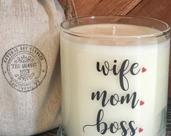 Soy Candle-Wife Mom Boss -Love Message On Candle-Candle With Message-Valentine Gifts-Gifts For Valentines Day