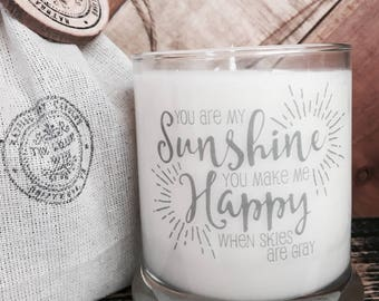 Soy Candle-You Are My Sunshine-Inspirational messages-Candle With Message-I Love You Gifts-Baby Shower Gifts-Shower Favors