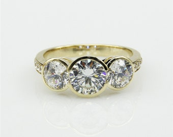 1.5ct Round Moissanite Bezel 3 Stones Halo Accents 14k Yellow Gold Engagament Ring (CFR0588-ESMS1.5CT)