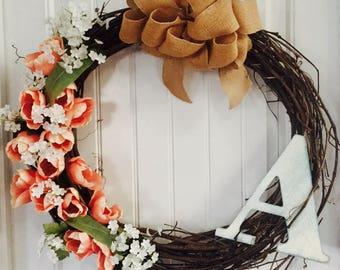 Coral Tulips Grapevine Wreath