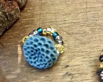 Blue-Green flower & beaded ring!