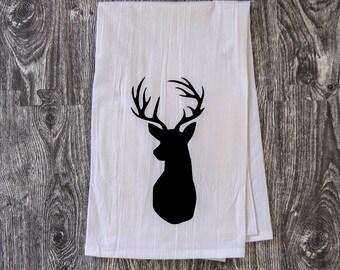 Deer Head Silhouette - Hand Pulled Screen Printed Bar Towel
