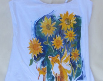 Fairy foxes hand painted original one of a kind camisole size small