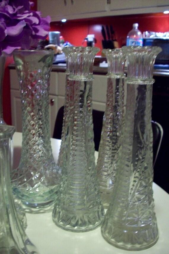 Clear Glass Vase Set Vintage Bud Vase Collection Set Of 16