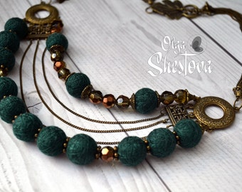 "Tiered Jewel Necklace ""Infiniti"" - Handmade cotton jewelry"