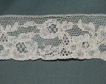 coupon old lace pink clear 330cm x 3.5 cm. french vintage all NYLON LACE