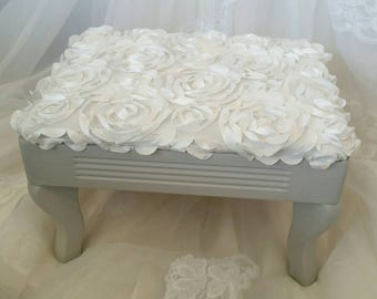 AVAILABLE! Dainty Footstool Step Foot Rest Stool Low Grey Gray White Floral Fluff Nursery Baby Photo Prop Southern California