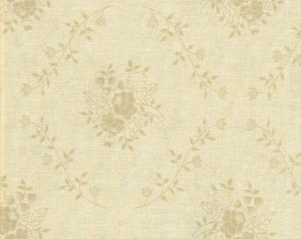 Tan Floral Fabric, Quilting fabric, Fabric by the Yard, Brown cotton fabric