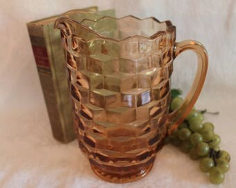 Vintage Indiana Pink Glass Large Water Pitcher - American Whitehall Pattern, Cubist