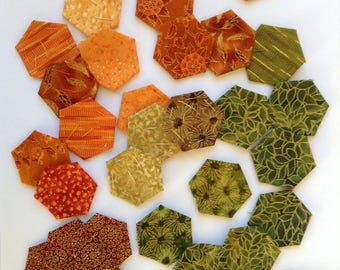 pre covered hexagons for english paper piecing, pack of 30, hexagons, pre basted hexagons, EPP, patchwork, MIXED COLOURS