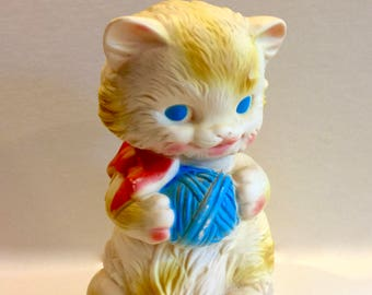 Vintage Kitten Toy, Edward Mobley, Kitten playing with yarn,  Rubber Toy, Squeak toy, Arrow Industries, Made in USA, Circa 1950s