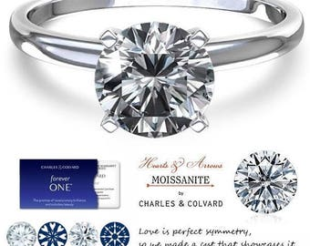 14K Gold 1.00 Carat (6.5mm) (Colorless) Moissanite Forever One Hearts and Arrows Solitaire Ring (with Charles & Colvard authenticity card)
