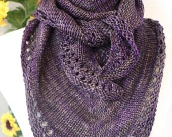 Purple triangle scarf, gray crescent shawl, petite merino wool shawlette, wool kerchief