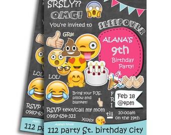 Sleepover Invitation, Slumber Party Invitation, Pajama Party Invitation, Emoji Birthday Invitation, Girl's Birthday Invitation