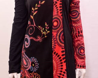 Funky boho patchwork paisley floral stitch tunic cotton dress Red XXL 12 14