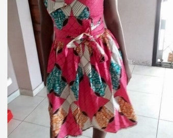 african patchwork print dress size M