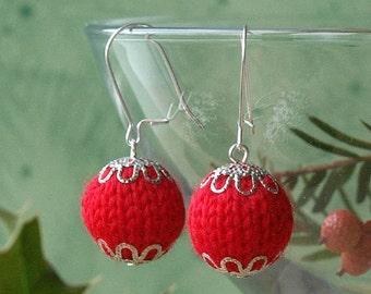knitted earrings, knitted earrings handmade, hygge earrings, knitted earrings hygge, HYGGE, sterling silver earwires