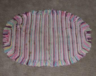 Vintage Braided Pink Oval Rag Rug / Kindergarten Rug / Nap Time