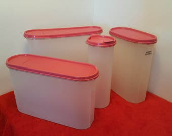 Vintage tupperware modular mate oval containers, super ovals, shake and pour, pink tupperware, magenta tupperware #1643, #2402, #2351, #1614