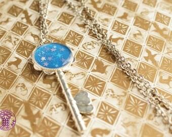 Lightblue Galaxy Key Charm Necklace - Nickle free