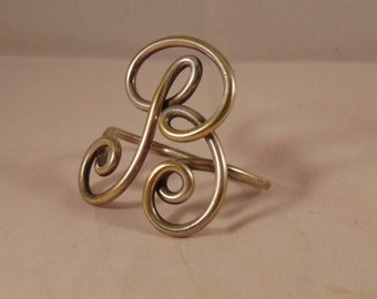 Vintage Mid-Century Scarf Woggle or Slide Initial B Silver Plated Brass
