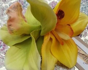Double Cybidium Orchid Clip