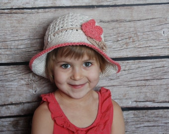 Ready to ship girls summer hat, Easter hat for  girls, 2T-5T girl hat with brim, toddler girl hat, beach hat for girls, hat with flower,