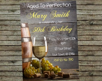 Wine Aged To Perfection Birthday Party Invitation