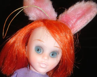 "60's KAMAR Shelf Sitter Bunny Rabbit ELF Knee Hugger Doll with Copper Orange-Red Hair & Blue 'Big Eyes' 7"" seated Toy Figure"