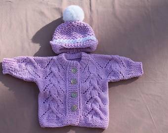 Hand Knit Baby Sweater And Hat Set,Newborn to 6 Month Lilac and baby Girl Sweater, Baby Shower Gift