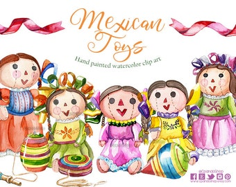 Cinco de Mayo Cliparts, Watercolor Clipart, Mexico Clip Art, Mexican Illustration, mexican toys Clipart watercolor , mexican dolls