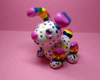 Rainbow, polymer clay, bunny rabbit, sculpture