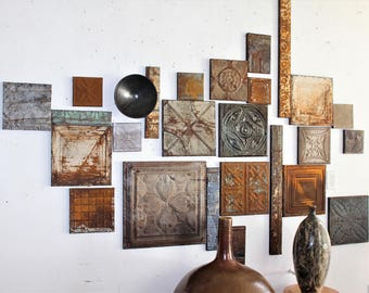 Farm Fresh, Rustic Raw Decor Architectual 1800s Rare Antique Collectible Ceiling Tin Large Wall Collage Fragments Designs for all Budgets