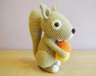 Dinky Crochet Squirrel Amigurumi - Handmade Crochet Amigurumi Toy Doll - Squirrel Crochet - Amigurumi Squirrel - Woodland Animal