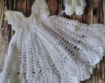 Christening Gown, Naming Gown, Baptism Gown, Baby Dress Set, Crochet Baby Outfit, Crochet Gown, Baby Girls Gown, Hair Clip And Sandals Set