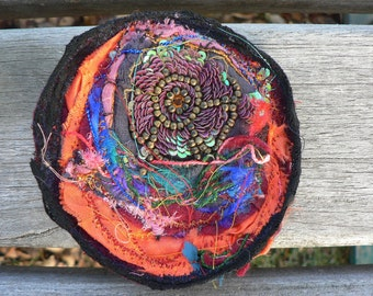 beautiful textile brooch