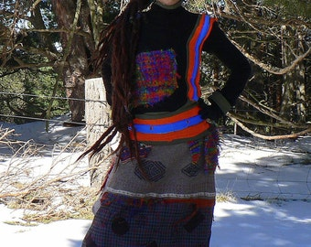 colorful patchwork sweater