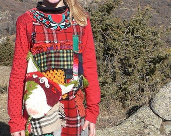 Scottish dress for girl in wool patchwork