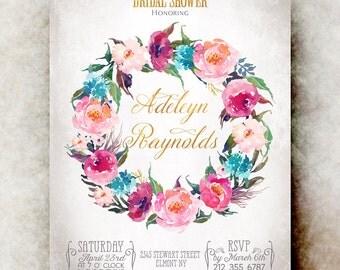 Watercolor bridal shower Invitation printable - pink bridal shower invitation, floral bridal shower invitation, bridal shower invites