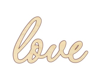 love Script Wood Word Sign - Wooden Word Sign - Laser Cut Words -  170247