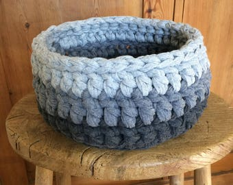 Hooked ribbon XL chunky Crochet fabric basket in multi-grey