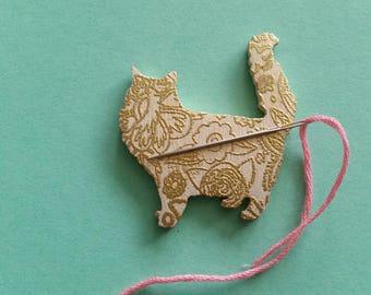 Wooden Fluffy Cat Needleminder, Fridge Magnet, Brooch