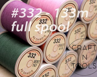 """Sajou Fil au Chinois """"Lin Cable"""" Waxed Linen Thread Full Spool #332 (0.77mm)/Corded Thread/Corded Linen/Saddlers Thread/Linen Cable"""