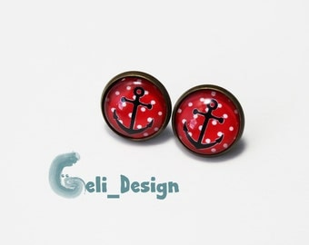 Earrings cabochon anchor Red