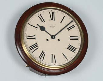 "Antique 15"" Mahogany Smiths Enfield Railway Station / School Wall Clock (Chiming)"