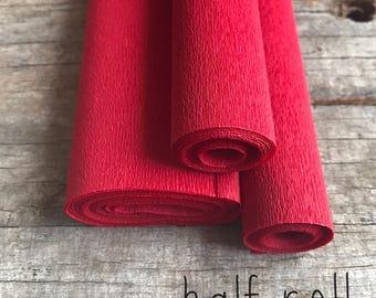 Red - 60g Italian Crepe Paper - HALF ROLL